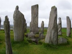 The burial chamber and 16 foot high central pillar in the central circle of this Celtic Cross shaped site of Callanish.