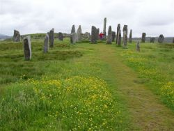 Looking up the avenue of Callanish, with Steve Buckley standing by the 16 foot alter stone.