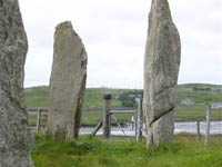Callanish Temple of the Moon, on the horizon between the stones of Cnoc Ceann a' Gharraidh, known as Calanish Site II.